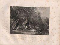 1890 Victoriano Estampado ~ Nativo Campamento ~ Australia