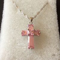 """C Pink sapphire silver (white gold filled) cross & 18"""" chain Plum UK GIFT BOXED"""