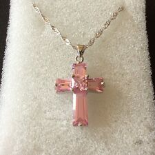 CC Pink sapphire Swarovski elements silver (white gold gf) cross & chain BOXD 02