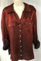 Elementz Size 2X Blouse Shirt Long Sleeve Rhinestone Button Maroon Red Holiday