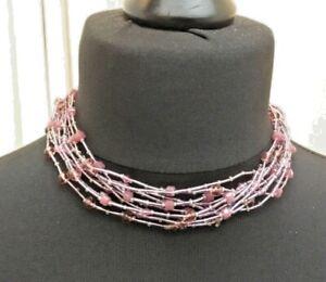 Pretty lilac/purple beaded twist multi strand necklace N014