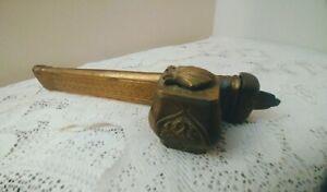 Antique Middle Eastern Persian Brass Inkwell Pen Box Qalamdan Scribe Case