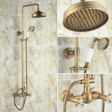Vintage Antique Brass Rain Shower Faucet Set W/ Hand Shower Dual Handles Crs107