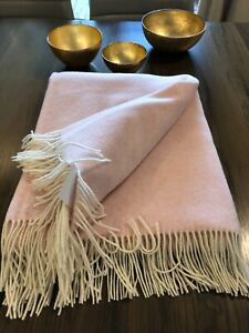 Extra Quality Merino Wool Blanket Throw With Cashmere Pure Natural 55x79 In Eco