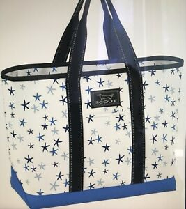 SCOUT Bags La Bumba Tote Utility Pool Beach Bag Slim Profile Starfish Blue NWT
