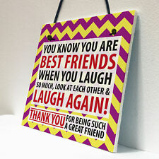 Best Friends Laugh Friendship Christmas Home Gift Hanging Plaque Family Sign