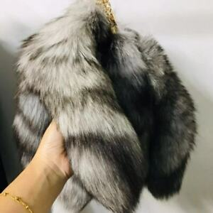 """10pcs/lot-16"""" Real Silver Blue Fox Fur Tail Keychain Bag Charm Cosplay Toy"""