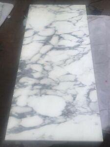 Reclaimed Carrara White Marble Table Top/worktop white - grey
