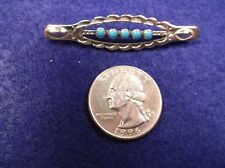 AWESOME, RARE OLD VTG STERLING SILVER & TURQUOISE BAR BROOCH (FRED HARVEY ERA?)