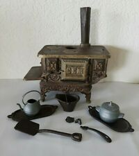 Antique GEM Cast Iron Mini Stove Salesman Sample Toy & Accessories Pat.1894
