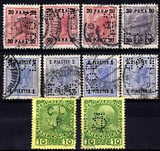 AUSTRIAN POs IN TURKISH EMPIRE PERFINS USED SELECTION, 10 STAMPS