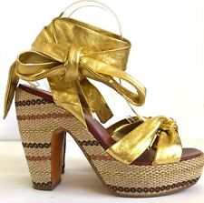 MARC BY MARC JACOBS Gold Leather Ankle Wrap Espadrille Platform Wedges Size 8