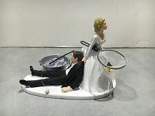 Fish Fishing Humor Funny Bride Groom Wedding Cake Topper Bud Lght Beer Pole Net