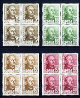 Bloque de cuatro sellos de España 1948-1954 1020-1023 General Franco  Nuevos
