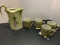 Vintage Antique Hand Painted Nippon Chocolate Tea Pot with 4 Cups