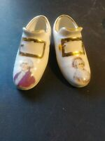 Vintage George and Martha Washington Victorian Style Porcelain Miniature Shoes