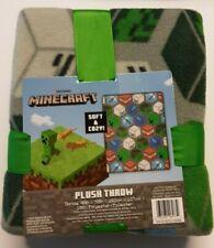 "Minecraft Travel Plush Throw Blanket Gray 40"" x 50"" ~ Ribbon Wrapped Gift Nwt"