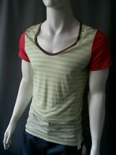 Emily Sharp Mens T-shirt, lime green and white stripe. X large