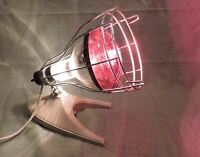 Vintage GE Theralux Infrared Portable Heat Lamp with Westinghouse Heat Ray Bulb