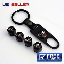 AUDI VALVE STEM CAPS + KEYCHAIN WHEEL TIRE BLACK - US SELLER VS03