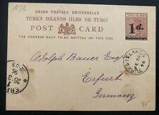 1896 TURKS Island Stationery Postcard Cover To Erfurt Germany Via London England