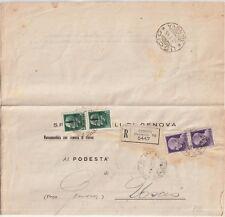 ITALIA 1945 RSI 25C X2+1LX2 SU LETTERA DA  GENOVA PER USCIO