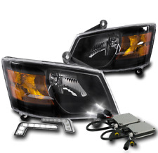 2008 2009 2010 DODGE GRAND CARAVAN BLACK REPLACEMENT HEADLIGHTS W/LED DRL+6K HID