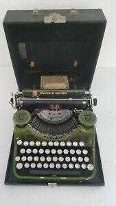 Vintage 1931 Underwood Portable Typewriter Green Woodgrain