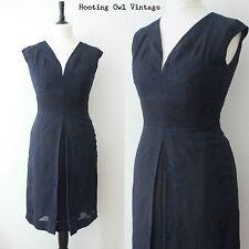 1950S ORIGINAL VINTAGE DRESS NAVY EMBROIDERED WIGGLE SHIFT EVENING COCKTAIL 10