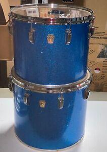 """Vintage Ludwig Blue Sparkle Drum Lot of 2 15"""" & 16"""" Tom"""