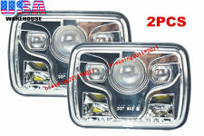 """2x Cree LED Projector Headlights 7x6"""" Sealed Beam Headlight Chrome DOT Approved"""