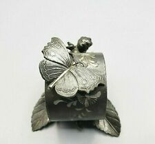 Antique Silver Napkin Ring ~ Victor Silver Quadruple Plate ~ Butterfly, Cherub