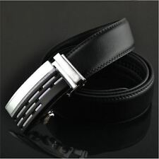 Mens Black Dress Fashion Leather Belt with Auto Lock Stainless Steel Buckle L14