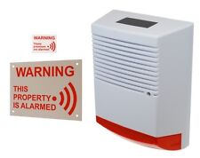 Solar Powered Dummy Alarm Siren - Flashing LED's with Alarm Sign & Sticker.