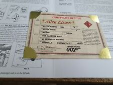 DANBURY MINT ASTON MARTIN DB5 JAMES BOND 007 CERTIFICATE AND INSTRUCTIONS USA