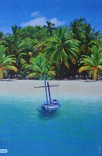 STRAND - A3 Poster (ca. 42 x 28 cm) - Plakat Palme Boot Insel Beach Urlaub NEU