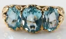 LARGE 9CT 9K GOLD BLUE TOPAZ 3 STONE TRILOGY ART DECO INS RING FREE SIZE