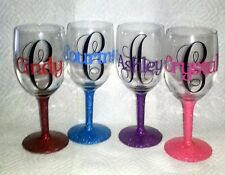 Name & Initial - Vinyl Stickers for Glitter wine Glass,  Flute or Mason jars.