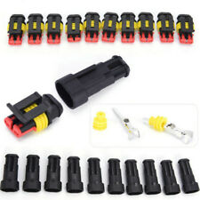 5x 2Pin Car Waterproof Electrical Connector Plug With Wire AWG Marine Black ID
