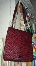 vintage Ledertasche Geldbeutel Set Handtasche 80er Schlangenhaut-Prägung