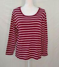 Dressbarn Womens Top 2X Long Sleeve Striped Cotton Modal Crew Neck Maroon