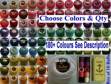 10 ANCHOR Pearl Cotton Crochet Embroidery Thread Balls in each colour. 185+ colr