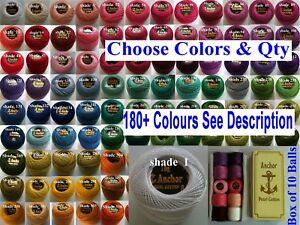 10 ANCHOR Pearl Cotton Crochet Embroidery Thread Balls in each colour. 185+ colr