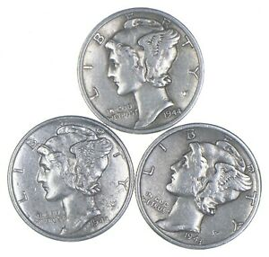 Lot of 3 AU/Unc 1944-D, 1943, 1943-S Mercury Dimes 90% Silver Collection *362