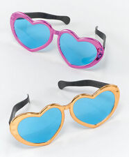 Jumbo Metallic Heart Sunglassses Elton John Hippy Fancy Dress