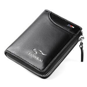 NEW  Mens GIFT Purse Bifold Credit Card Zip PU Leather Wallet RFID Anti Scan AU