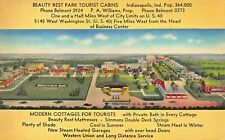 INDIANAPOLIS IN~BEAUTY REST TOURIST CABINS~TOURIST COTTAGES AERIAL ART POSTCARD