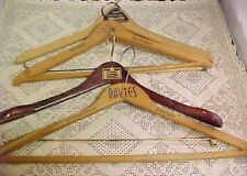 Lot of 4 Vintage Wooden Coat Hangers Pants Suits Jackets Dove Tailed Advertising