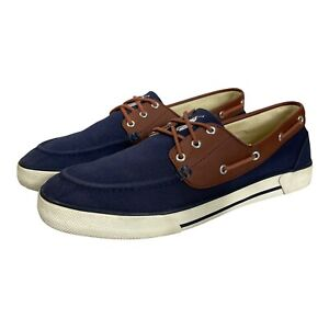 Ralph Lauren Polo Franz Navy Canvas Slip-On Boat Loafer Shoes Mens Size 12