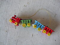 Vintage Wood Locomotive with Cars Christmas Ornament